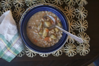 Two-Bit Navy Bean Soup with Pan-Fried Carrots and Potatoes Recipe