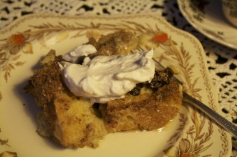 Rustic Bread Pudding With Bourbon Whipped Cream Recipe