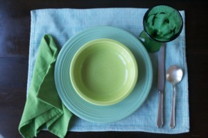 Green and gracious: Set your table with real dishes and flatware.