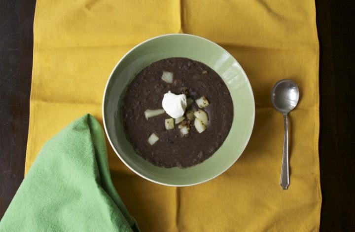 Two-Bit Black Bean Soup with Pan-Fried Potatoes