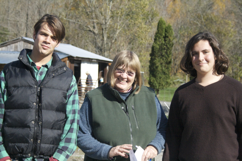 My sons with Adele Hayes, owner of Sap Bush Hollow Farm