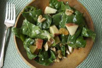 Spinach, Apple and Walnut Salad with Lime Chutney Salad Dressing