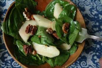 Summer Fruit and Spinach Salad with Maple-Glazed Pecans Recipe