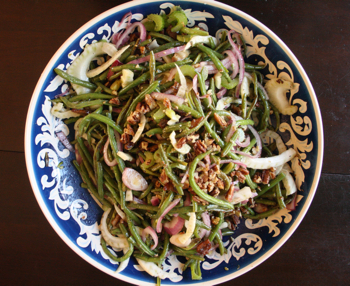 Green Bean and Fennel Salad with Bacon Bits and Maple-Glazed Pecans